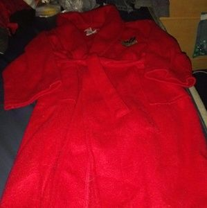 Red orange fleece bathrobe with moose size 5T
